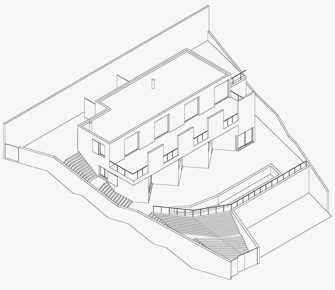 casa Friedrich-axonometria @Marc García-Durán, arquitecto