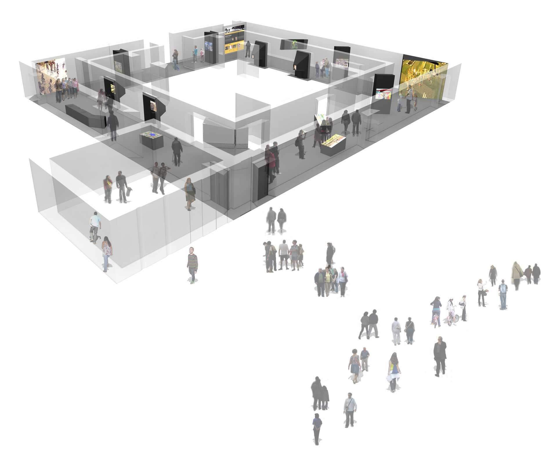Societats Virtuals - axonometria @Marc García-Durán, arquitecto